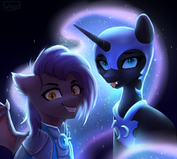 Size: 1000x899   Tagged: safe, artist:share dast, nightmare moon, oc, oc:dawn sentry, alicorn, bat pony, :p, armor, bat pony oc, bat wings, crazy eyes, evil grin, female, grin, mare, nightmare mlem, silly, smiling, tongue out, wings