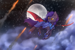 Size: 2400x1600 | Tagged: safe, artist:reysi, oc, oc only, oc:dawn sentry, bat pony, pony, armor, bat pony oc, battlefield, claws, cloud, female, fire, flying, full moon, looking down, mare, metal claws, moon, night, night guard, solo, spread wings, stars, weapon, wings