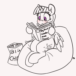 Size: 1196x1200 | Tagged: 30 minute art challenge, alicorn, artist:pabbley, blushing, book, chips, cute, female, food, mare, nerdgasm, partial color, pony, reading, safe, twiabetes, twilight sparkle, twilight sparkle (alicorn)