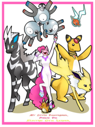 Size: 2175x2900   Tagged: safe, artist:rimmi1357, fili-second, pinkie pie, ampharos, anthro, dedenne, jolteon, magneton, rotom, zebstrika, crossover, gym leader, pokémon, pokémon trainer, power ponies