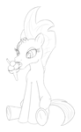 Size: 1303x2134 | Tagged: safe, artist:cybersquirrel, fizzlepop berrytwist, tempest shadow, my little pony: the movie, broken horn, female, food, ice cream, licking, simple background, sitting, sketch, solo, tongue out, underhoof, white background