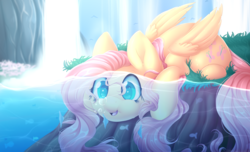 Size: 3900x2378 | Tagged: safe, artist:scarlet-spectrum, fluttershy, fish, pegasus, pony, blowing bubbles, bubble, cute, female, folded wings, grass, mare, open mouth, pond, prone, scenery, shyabetes, solo, speedpaint available, thick, underwater, water, waterfall, watershy, wings
