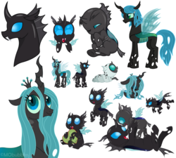 Size: 1024x922 | Tagged: safe, artist:mobubbles, oc, oc only, oc:corvus, oc:corvus hooves, oc:crann taca, oc:king corvus, oc:kyle, oc:queen crann, oc:rosemary, changeling, changeling larva, changeling queen, blue eyes, brother and sister, bust, changeling hive, changeling king, changeling kingdom, changeling oc, changeling queen oc, chubby, chubby changeling, cuteling, daughter of chrysalis, father and daughter, father and son, female, green pillow, heart, heart pillow, hive, horn, king, larva, male, mother and daughter, mother and son, oc x oc, pillow, polka dots, profile, queen, red stitch, shipping, wings