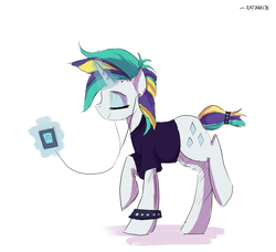 Size: 3295x3000 | Tagged: safe, artist:ratann, rarity, it isn't the mane thing about you, alternate hairstyle, earbuds, eyes closed, female, glowing horn, ipod, magic, mp3 player, punk, raised hoof, raised leg, raripunk, simple background, smiling, solo, telekinesis, white background