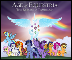 Size: 5047x4235 | Tagged: absurd res, age of equestria, alicorn, applejack, artist:melspyrose, dragon, fanfic, fanfic art, flash sentry, fluttershy, mane six, oc, oc:midnight shade, pinkie pie, rainbow dash, rarity, safe, spike, sunset shimmer, the avatar of friendship, twilight sparkle, twilight sparkle (alicorn)