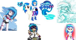 Size: 2785x1485 | Tagged: safe, artist:lisan1997, artist:livesmutanon, artist:lunchie, artist:mit-boy, artist:the-butch-x, artist:vector-brony, edit, dj pon-3, vinyl scratch, pony, unicorn, equestria girls, armpits, belly button, best pony, collage, cutie mark, cutie mark on equestria girl, devil horn (gesture), female, glowing horn, headphones, hooves, horn, levitation, logo, logo edit, magic, mare, open mouth, red eyes, simple background, smiling, solo, sunglasses, teeth, telekinesis, text, transparent background, turntable, vector