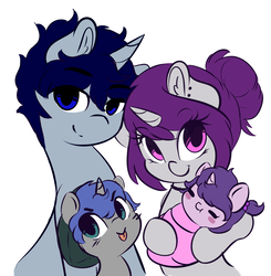 Size: 3792x3877 | Tagged: safe, artist:wickedsilly, oc, oc only, oc:daydream, oc:lullaby, oc:sleepy head, oc:wicked silly, pony, unicorn, :p, :t, baby, baby pony, blush sticker, blushing, choker, colt, cute, daaaaaaaaaaaw, ear fluff, ear piercing, eyes closed, family, family photo, female, foal, hoof hold, lidded eyes, looking at you, male, mare, no catchlights, oc x oc, offspring, parent:oc:sleepy head, parent:oc:wicked silly, parents:wickedsleepy, piercing, shipping, simple background, sitting, smiling, stallion, straight, tongue out, white background, wickedsleepy