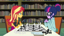 Size: 1280x720 | Tagged: safe, screencap, sci-twi, sunset shimmer, twilight sparkle, equestria girls, equestria girls series, the finals countdown, canterlot high, chess, chessboard incorrectly oriented, clothes, glasses, hoodie, library