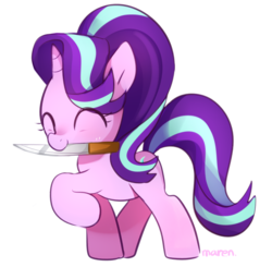 Size: 1197x1173 | Tagged: safe, artist:maren, starlight glimmer, pony, unicorn, cute, dangerous, eyes closed, female, glimmerbetes, happy, knife, mare, mouth hold, raised hoof, simple background, smiling, solo, white background