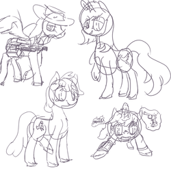 Size: 783x783 | Tagged: safe, artist:erijt, oc, oc only, oc:calamity, oc:homage, oc:littlepip, oc:velvet remedy, pegasus, pony, unicorn, fallout equestria, battle saddle, black and white, clothes, cutie mark, dashite, fanfic, fanfic art, female, glowing horn, grayscale, gun, handgun, hat, hooves, horn, levitation, little macintosh, magic, male, mare, monochrome, open mouth, optical sight, pipbuck, revolver, rifle, sketch, spread wings, stallion, telekinesis, vault suit, weapon, wings