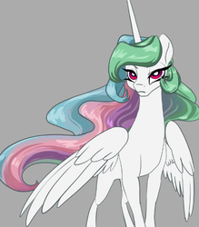 Size: 700x800 | Tagged: safe, artist:candasaurus, princess celestia, alicorn, pony, female, gray background, mare, missing accessory, simple background, solo