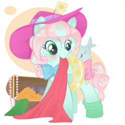 Size: 1024x1024 | Tagged: safe, artist:parfywarfy, oc, oc only, oc:parfait, earth pony, pony, clothes, female, filly, hat, inner tube, solo