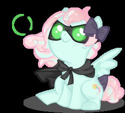 Size: 1024x930 | Tagged: safe, artist:parfywarfy, oc, oc only, oc:parfait, earth pony, pony, cloak, clothes, female, filly, sitting, solo