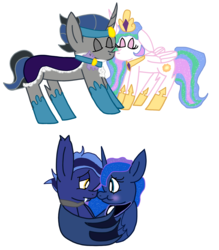 Size: 1940x2212 | Tagged: artist:snoopy7c7, celestibra, female, good king sombra, guardluna, king sombra, male, princess celestia, princess luna, royal guard, safe, shipping, straight