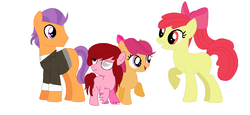 Size: 984x454 | Tagged: apple bloom, artist:laweashippeadora, blind eye, family, female, male, oc, offspring, older, older apple bloom, older tender taps, parent:apple bloom, parents:tenderbloom, parent:tender taps, safe, shipping, simple background, straight, tenderbloom, tender taps, white background