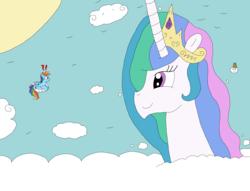 Size: 3266x2491 | Tagged: safe, artist:supahdonarudo, princess celestia, rainbow dash, bird, pony, cloud, exclamation point, giant pony, giantess, giantlestia, interrobang, lakitu, macro, question mark, sun, surprised