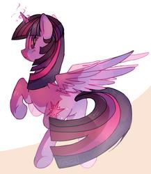 Size: 1090x1256   Tagged: safe, artist:sunomii, twilight sparkle, alicorn, pony, cute, female, glowing horn, looking back, mare, plot, solo, spread wings, twiabetes, twibutt, twilight sparkle (alicorn), wings