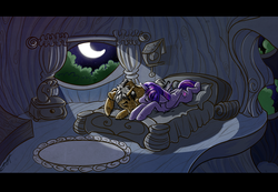 Size: 1280x884 | Tagged: safe, artist:opalacorn, discord, twilight sparkle, alicorn, bed, discolight, female, golden oaks library, male, pony discord, sad, shapeshifting, shipping, straight, sweat, sweating profusely, twilight sparkle (alicorn)