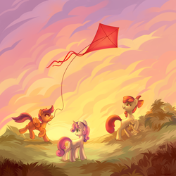 Size: 4000x4000   Tagged: safe, artist:share dast, apple bloom, scootaloo, sweetie belle, earth pony, pegasus, pony, unicorn, cutie mark crusaders, female, kite, kite flying, smiling, sunset, trio