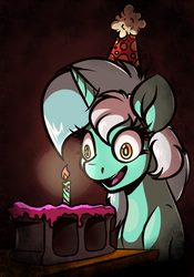 Size: 1024x1463 | Tagged: artist:witchtaunter, birthday, birthday candles, brick, cake, candle, cinder block, concrete, crying inside, dead stare, faic, female, food, happy birthday, hat, insanity, lonely, lyra heartstrings, mare, party hat, pony, sad, safe, smiling, solo, this will end in broken teeth, unicorn
