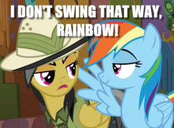Size: 1280x940 | Tagged: daring do, i am an adult, image macro, i need an adult, lidded eyes, meme, rainbow dash, safe, screencap, shipping denied
