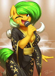 Size: 1500x2080 | Tagged: safe, artist:burgerkiss, oc, oc only, earth pony, anthro, abstract background, breasts, cleavage, clothes, ear piercing, earring, female, jewelry, kimono (clothing), looking at you, mare, microphone, one eye closed, piercing, singing, solo, wink