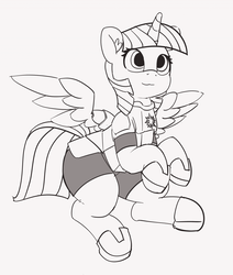 Size: 1280x1506 | Tagged: 30 minute art challenge, alicorn, armor, artist:pabbley, grayscale, monochrome, pony, safe, solo, twilight sparkle, twilight sparkle (alicorn)