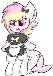 Size: 1262x1783 | Tagged: safe, artist:ashee, oc, oc only, oc:rainy skies, earth pony, original species, pony, shark, shark pony, 2018 community collab, derpibooru community collaboration, bipedal, clothes, cute, cute little fangs, dress, explicit source, fangs, female, heart eyes, maid, moe, ocbetes, simple background, skirt, socks, solo, transparent background, wingding eyes