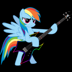 Size: 800x800 | Tagged: artist:didgereethebrony, bass guitar, edit, musical instrument, rainbow dash, safe, solo