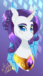 Size: 657x1168 | Tagged: artist:djspark3, bust, curved horn, cutie mark background, element of generosity, eyeshadow, hair bun, horn jewelry, jewelry, makeup, portrait, rarity, safe, signature, smiling, solo