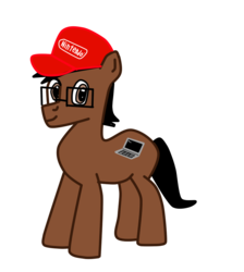 Size: 862x960 | Tagged: 2018 community collab, cap, derpibooru community collaboration, earth pony, glasses, hat, nintendo, oc, oc:codebreaker, oc only, pony, safe, simple background, solo, transparent background