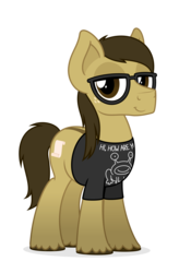 Size: 1971x3006 | Tagged: 2018 community collab, artist:zutheskunk, clothes, daniel johnston, derpibooru community collaboration, derpibooru exclusive, dorsal stripe, dun, earth pony, glasses, male, oc, oc:bay mac, oc only, pony, safe, shirt, simple background, solo, stallion, transparent background, unshorn fetlocks, vector