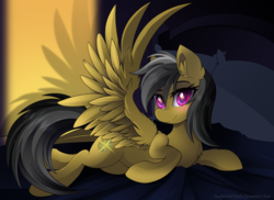 Size: 900x654 | Tagged: safe, artist:thenornonthego, daring do, pegasus, pony, bed, bedroom eyes, blushing, cute, daring dorable, female, looking at you, lying down, mare, prone, smiling, solo, spread wings, wings