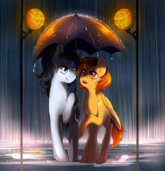 Size: 1500x1555 | Tagged: safe, artist:renaifoxi, oc, oc only, oc:firetale, oc:mirror image, pegasus, pony, unicorn, female, horn, mare, rain, street lights, umbrella, wings