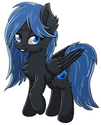 Size: 1629x2020 | Tagged: safe, artist:meow, derpibooru exclusive, oc, oc only, oc:midnight light, pegasus, pony, 2018 community collab, derpibooru community collaboration, chest fluff, ear fluff, fluffy, simple background, smiling, solo, transparent background