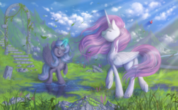 Size: 1288x800 | Tagged: alicorn, artist:stasysolitude, butterfly, duo, field, flower, glowing horn, grass, leaves, magic, pink mane, pink-mane celestia, pony, princess celestia, princess luna, ruins, safe, smiling, younger