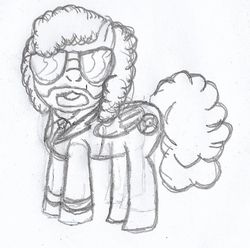 Size: 784x777   Tagged: safe, artist:grapefruitface1, oc, oc only, oc:electric light (jeff lynne pony), pegasus, pony, black and white, clothes, electric light orchestra, elo, equestria light orchestra, facial hair, grayscale, jeff lynne, male, monochrome, musician, pencil drawing, ponified, simple background, sketch, solo, stallion, suit, sunglasses, traditional art, tuxedo
