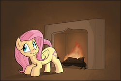 Size: 889x593 | Tagged: safe, artist:shoutingisfun, fluttershy, pegasus, pony, :t, ass up, behaving like a cat, behaving like a dog, blushing, brown background, cute, featured image, female, fire, fireplace, folded wings, heat, indoors, looking at you, mare, nervous, raised tail, shyabetes, simple background, smiling, solo, tail, toasty, wings