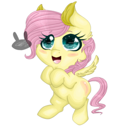 Size: 1000x1000 | Tagged: amazed, artist:siena1923, bipedal, blushing, chibi, cute, eye clipping through hair, female, filly, fluttershy, hooves to the chest, looking up, open mouth, pegasus, pony, safe, simple background, smiling, sparkling eyes, spread wings, transparent background, wings, younger