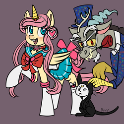 Size: 2880x2880 | Tagged: angel bunny, artist:lamentedmusings, boots, clothes, cosplay, costume, discord, discoshy, draconequus, fake horn, female, flower, flower in mouth, fluttershy, gray background, luna (sailor moon), male, mare, mouth hold, otakushy, pegasus, pony, rabbit, raised hoof, rose, rose in mouth, safe, sailor moon, sailor uniform, shipping, shoes, simple background, skirt, straight, trio, tuxedo mask