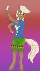 Size: 2000x3500 | Tagged: anthro, artist:darnelg, clothes, epona, female, gradient background, legend of zelda wind waker, lobster shirt, nose stripe, safe, shirt, solo, the legend of zelda, t-shirt, unguligrade anthro, wii