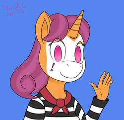 Size: 1350x1300   Tagged: safe, artist:darnelg, quiet gestures, unicorn, anthro, face paint, makeup, mime, simple background, waving