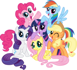 Size: 4946x4492   Tagged: safe, artist:crunchnugget, applejack, fluttershy, pinkie pie, rainbow dash, rarity, twilight sparkle, earth pony, pegasus, pony, unicorn, absurd resolution, female, mane six, mane six opening poses, mare, one eye closed, open mouth, prone, raised hoof, simple background, spread wings, transparent background, vector, wings, wink