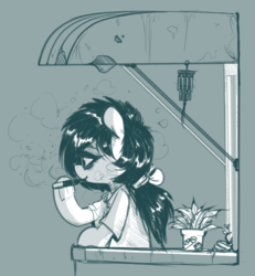Size: 727x788 | Tagged: arizona, artist:whydomenhavenipples, balcony, bipedal, bow, clothes, flag, hair bow, monochrome, oc, oc only, oc:replica, plant, pony, safe, semi-anthro, solo, vape, vaping