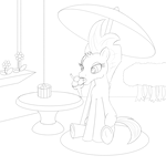Size: 2560x2560 | Tagged: safe, artist:cybersquirrel, fizzlepop berrytwist, tempest shadow, unicorn, my little pony: the movie, broken horn, eye scar, flower, food, forest, frog (hoof), ice cream, licking, outdoors, scar, simple background, sitting, sketch, table, tongue out, tree, umbrella, underhoof, window