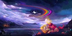Size: 4508x2254 | Tagged: safe, artist:wilvarin-liadon, rainbow dash, twilight sparkle, oc, oc:cinder, alicorn, pegasus, pony, unicorn, arcane arts, arcane magic, campsite, cloud, crescent moon, curved horn, cute, feather, featured image, female, field, floppy ears, flying, glowing horn, grass, levitation, looking up, magic, mare, moon, mountain, night, night sky, pen, ponyville, prone, quill, rainbow, rainbow trail, scenery, scenery porn, scroll, sky, solo focus, spread wings, stars, telekinesis, twilight sparkle (alicorn), wings, writing