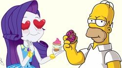 Size: 1920x1080 | Tagged: safe, rarity, equestria girls, equestria girls series, crossover, cupcake, donut, food, heart eyes, homer simpson, rarity peplum dress, the simpsons, wingding eyes
