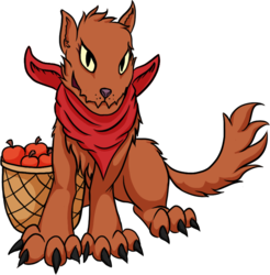 Size: 1215x1237 | Tagged: 2018 community collab, adopted offspring, apple, artist:xormak, bandana, basket, derpibooru community collaboration, diamond dog, food, neckerchief, next generation, oc, oc only, oc:rosy, parent:applejack, safe, simple background, transparent background