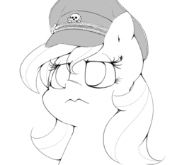 Size: 1021x952 | Tagged: artist:lyrabop, black and white, earth pony, female, grayscale, hat, looking away, monochrome, oc, oc:aryanne, oc only, peaked cap, pony, safe, simple background, solo, white background