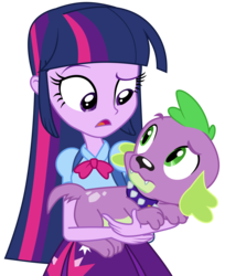 Size: 3040x3733 | Tagged: artist:poniacz-internetuff, backpack, clothes, dog, duo, equestria girls, open mouth, safe, simple background, skirt, spike, spike the dog, transparent background, twilight sparkle, twilight sparkle (alicorn), vector